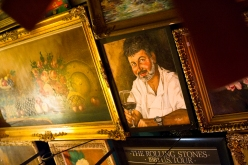 Owner Jacques Leonardi adorns the ceiling.  He was also adorning a bar stool during our visit.