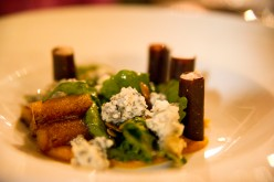 Rouge River smokey blue cheese, rabbit and fig roll-up, pumpkin puree, arugula and roasted pumpkin seeds